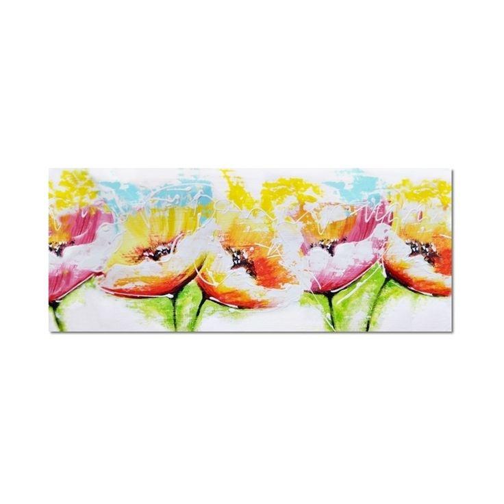 Acryl schilderij 'Pastel Flowers' van Aleksandra, 120x50 cm, kleurige abstract bloemen op canvas #schilderij #kunst #abstract #kunstvoorjou #muurdecoratie #interieur #bloemen
