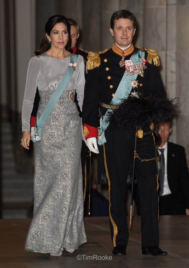 Queen Margrethe, Crown Prince Frederik and Crown Princess Mary attend New Year's Diplomatic Reception at the Christiansborg Palace in Copenhagen