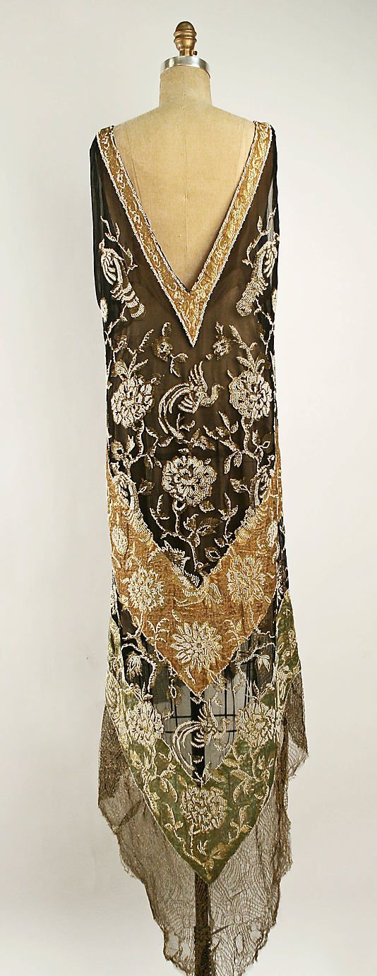Dress. Callot Soeurs (French, active 1895–1937). Date: 1920s. Culture: French. Medium: silk, metallic. Dimensions: (a) Length at CB: 58 in. (147.3 cm). (b) Length at CB: 22 1/2 in. (57.2 cm).