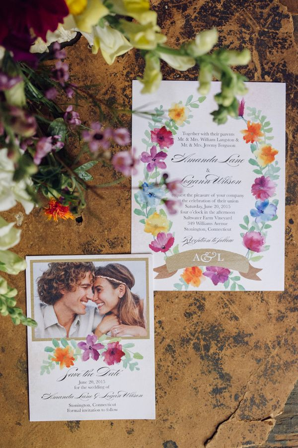 floral wedding invitations photo by Christina