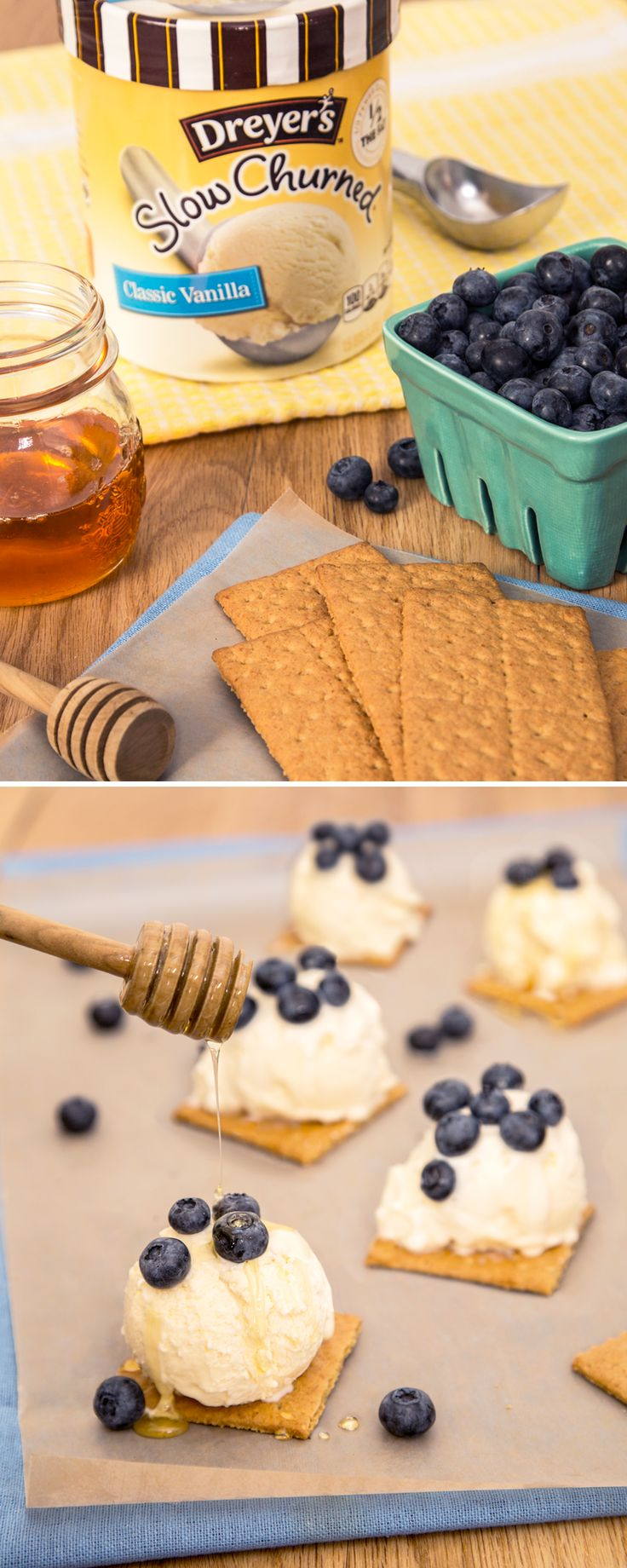 Dreyer's Ice Cream Honey Crisps: Put a spin on snack time with this easy, no-bake recipe! Simply place a scoop of Dreyer's Slow Churned Classic Vanilla Ice Cream on top of crispy graham crackers! Your kids will enjoy topping the treat with fresh blueberries and honey drizzle.