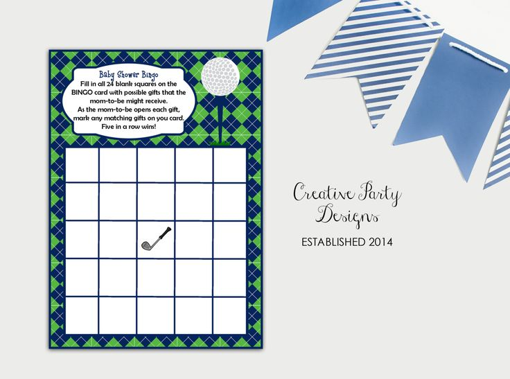 Baby Shower Games, Printable Baby Shower Games, Baby Shower Bingo Card, Golf Baby Shower, Boy Baby Shower Games, Baby Shower Printables, DIY by CreativePartyDesigns on Etsy