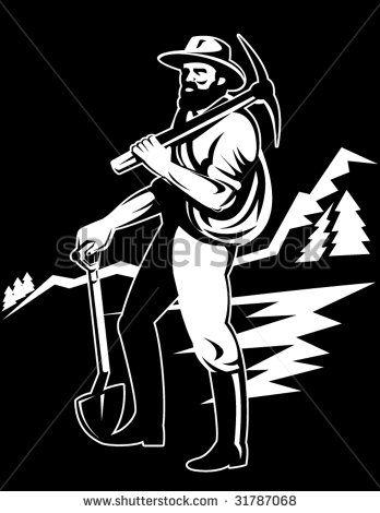 Coal miner with pick axe  #prospector #retro #illustration