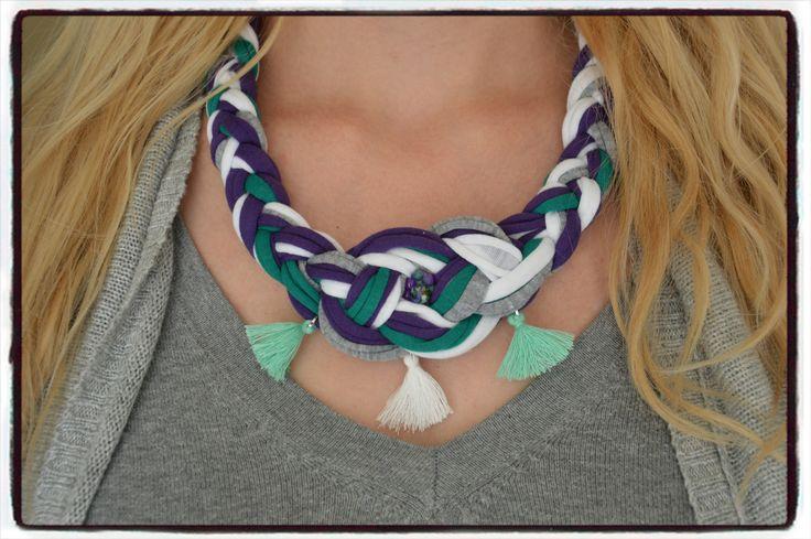 collier mi long noeud marin carrick trapilho violet gris blanc vert : Collier par perles-de-filles