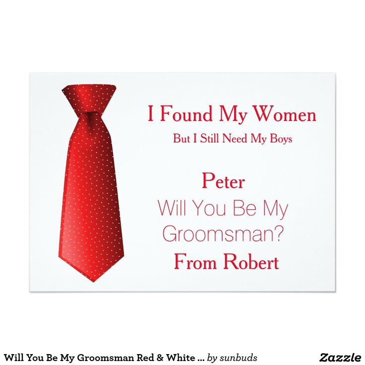 Will You Be My Groomsman Red & White Tie 5x7 Paper Invitation Card