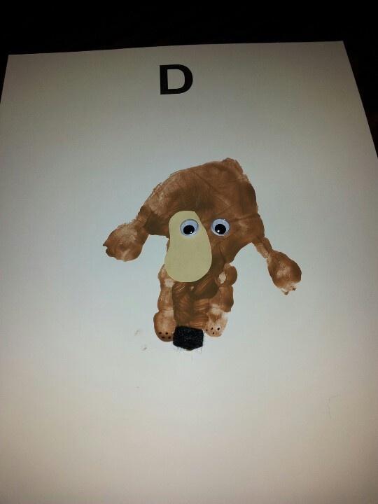 letter d is for dog handprint