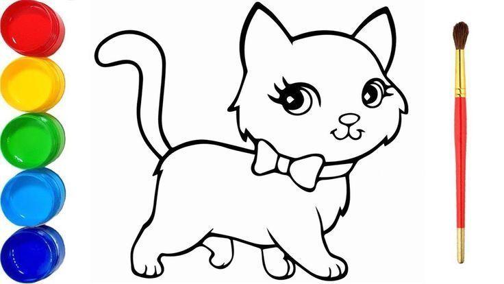 Schone Katze Malen Und Ausmalen Katzen Malen Wir Lernen Die Farbe Cat Painting Cat Drawing Beautiful Cat