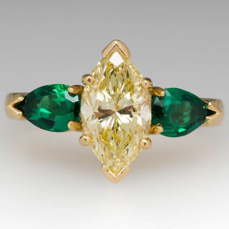 ring emerald fullxfull art rings rose gemstone cd deco unique products victorian engagement il gold