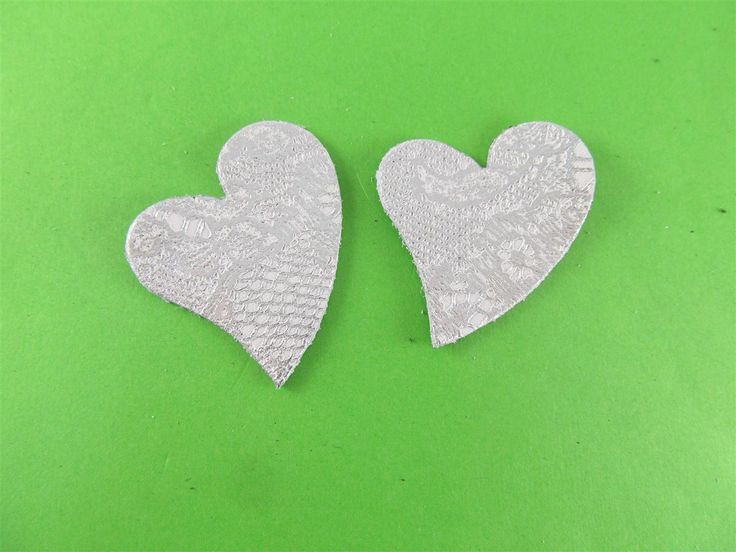 leather embossed white/silver hearts 40mm (3 pcs) DIY cut leather flowers Craft supplies Jewelry materials Leather pieces