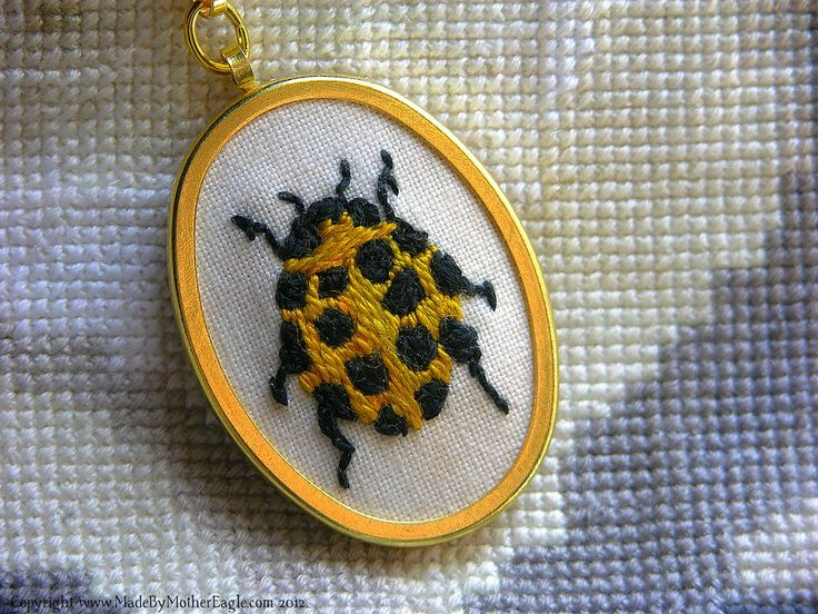 The Saffron Beetle, miniature hand embroidered in silk | Flickr - Photo Sharing!
