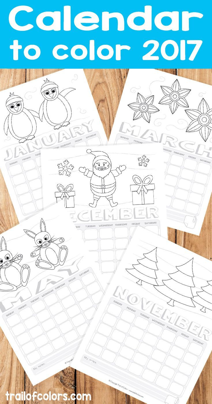 Printable Calendar to Color 2017! Great kid made gift idea!