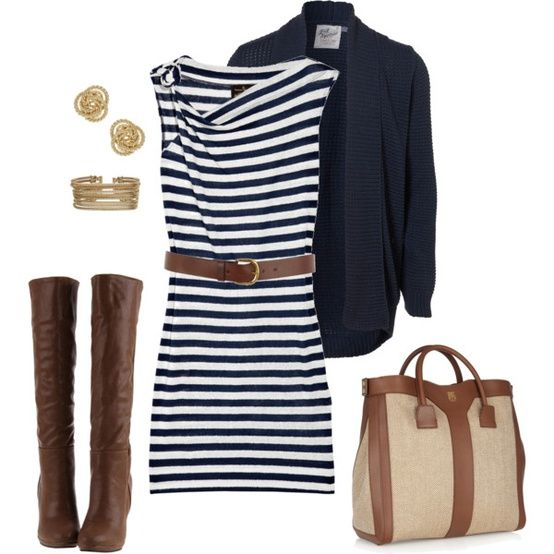 Navy Stripes, brown accessories