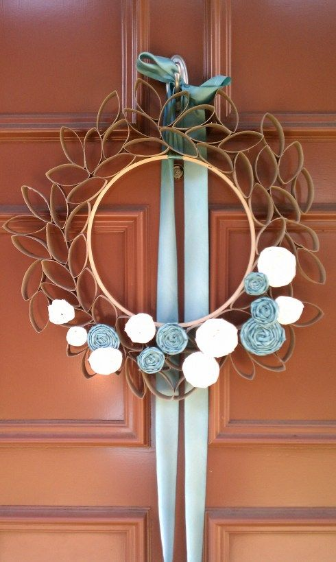 wreath made from empty toilet paper rolls.