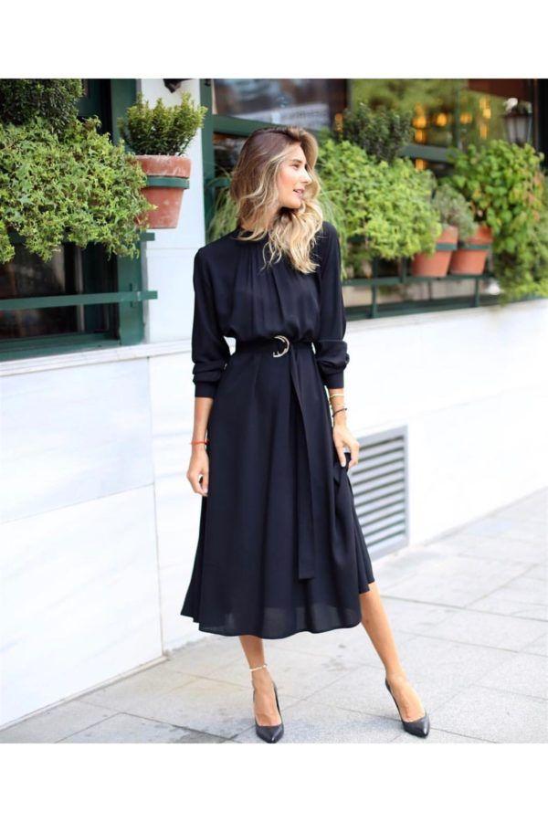 Yeni Sezon Kemerli Midiboy Elbise 086a Dresses Fashion Lovely Dresses