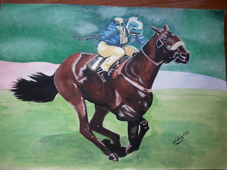 caballo y jinete - acuarela