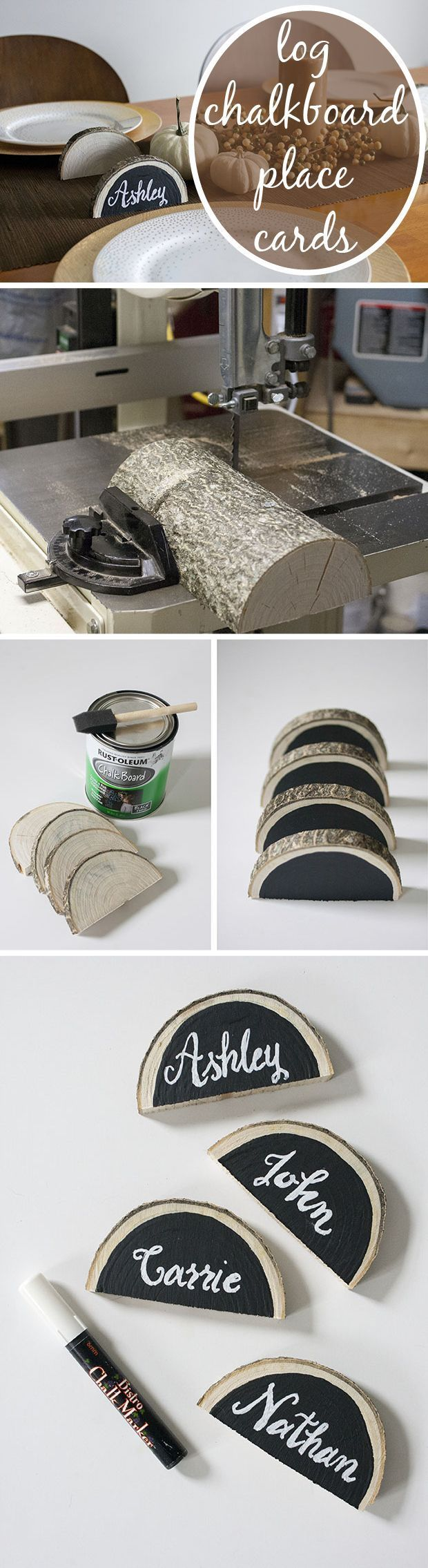 Create Rustic Place Cards Using Log Slices and Chalkboard Paint