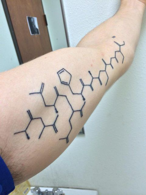 My first tattoo, a carbon skeleton of an insulin molecule because I'm a type one diabetic since age 17. Done by Pat of Defiance Tattoos, Fort Walton Beach, FL. Done at Downtown tattoos, New Orleans, LA.