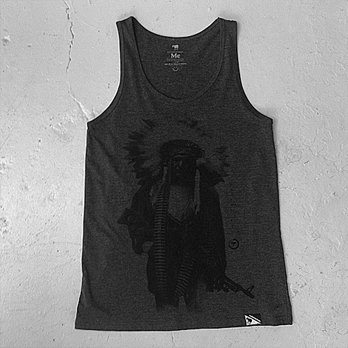 Evilemerican Singlet Girls - what if indians – charcoal $39.95