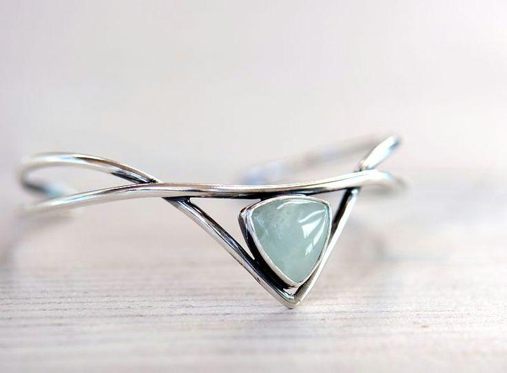 Silver cuff bracelet with aquamarine. Sterling silver bracelet. Elven jewelry.. $92.00, via Etsy.