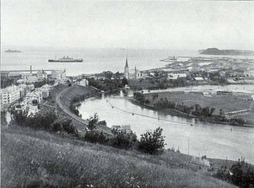 View of Harbor at Trondhjem, Norway with the S.S. Blücher of the Hamburg American Line visible in the background. circa 1908.