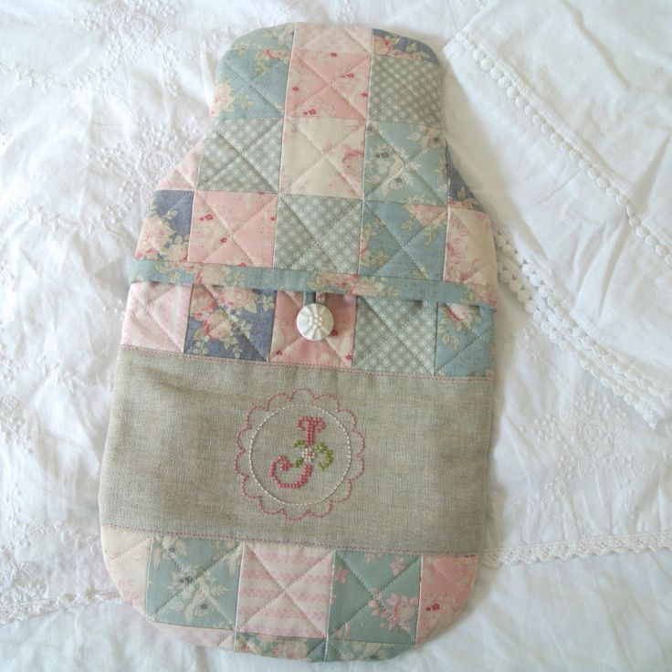 @ Sew Sweet Violet: beautiful hot water bottle patchwork cover with cross stitch initial