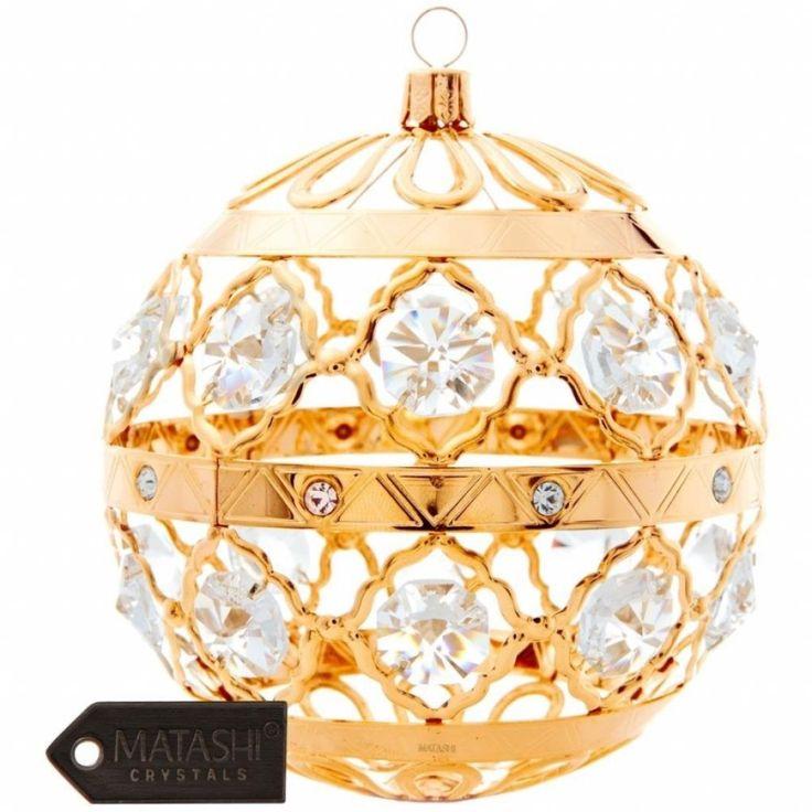 24K Gold Plated Crystal Studded Christmas Ball Ornament
