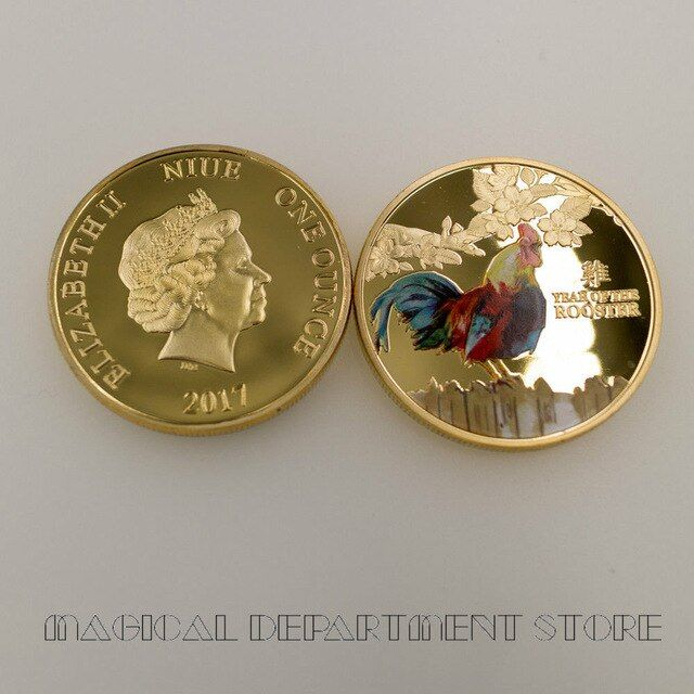 Chinese Zodiac Commemorative Coins Rooster Year Challenge Coins Collectibles