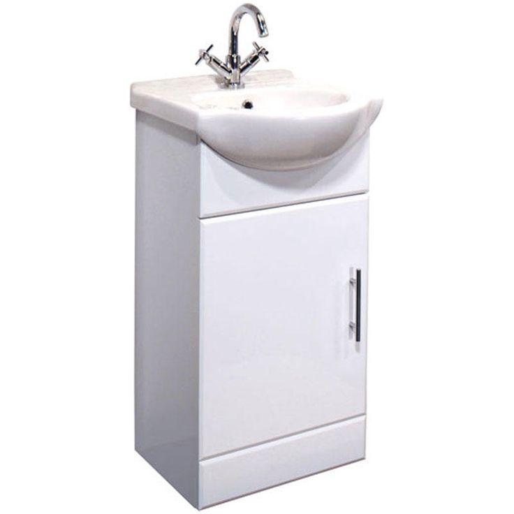 High Gloss White 450mm Floor Standing Cabinet & 1TH Basin