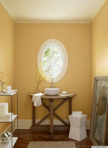 Ambiance #printemps et #sud de la France avec cette #décoration #jaune pâle dans la #salle de #bain