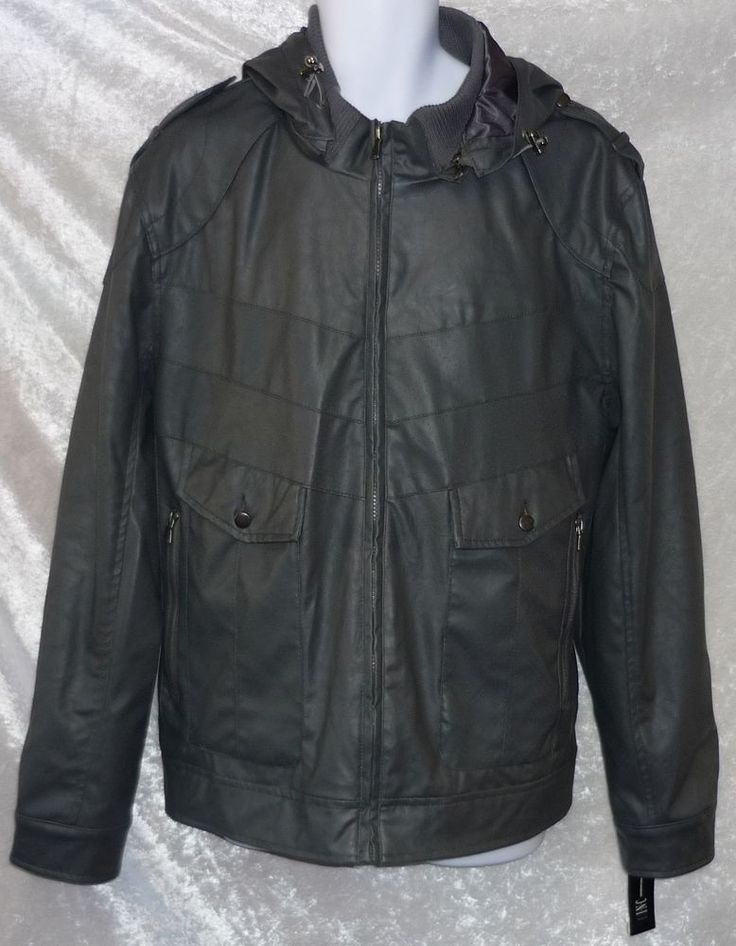 INC International Concepts men's jacket hooded faux leather grey size 2XL NEW #INCInternationalConcepts #BasicJacket