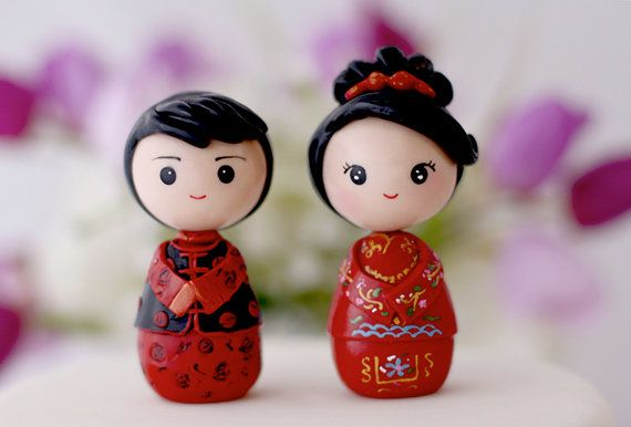 Chinese bride and groom wedding cake topper kokeshi figurines