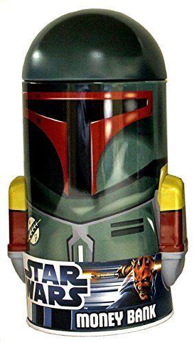 Star Wars Boba Fett Dome Round Tin Coin Bank. #Star #Wars #Boba #Fett #Dome #Round #Coin #Bank