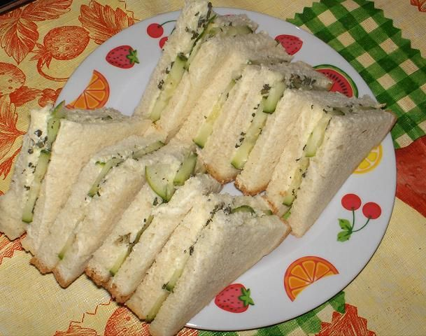 Buckingham Palace Garden Party Cucumber Sandwiches Recipe - Food.com Might try it with chives/dill and a mix of butter and cream cheese.