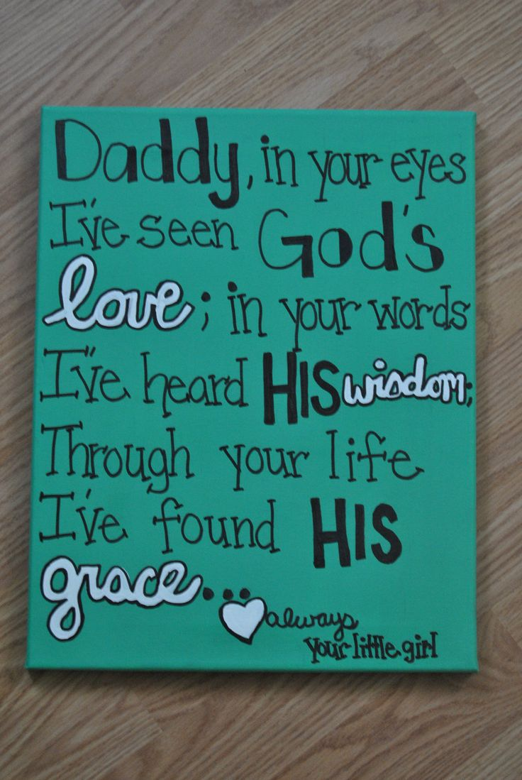 Daddy in your eyes..11x14 Canvas Quote (made to order) or MOTHERS.