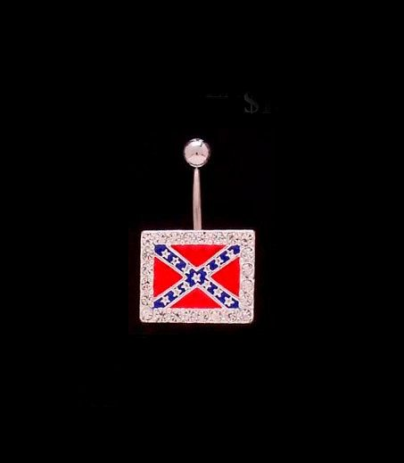Rectangle rebel flag belly button ring with bling