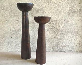 Set of two Midcentury Modern wood candleholders, Danish Modern decor, bohemian decor candle holder wood, candle holder set rustic home decor