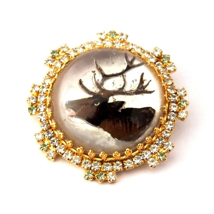 Gorgeous Rhinestone Button (Handmade) w/Vintage Deer (handpainted under glass) - coming soon in our shop!