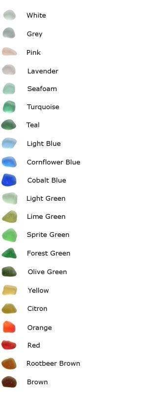 Genuine Sea Glass Colour Chart...I love sea glass...a rare find on Carolina shores.