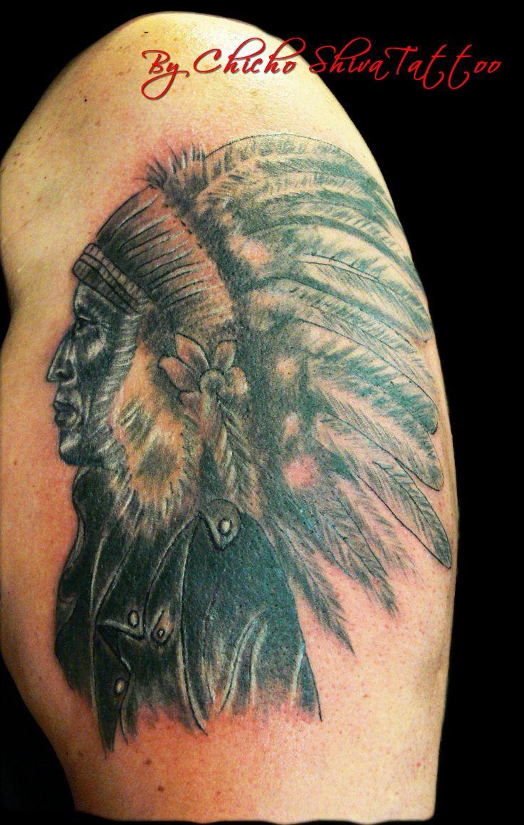 #Tattoo Jefe #indio #NubeRoja de la tribu #Lakota con chupa de cuero, para una motera única. Falta terminar de rematar las plumas y algún detalle #tatuaje #tattooart