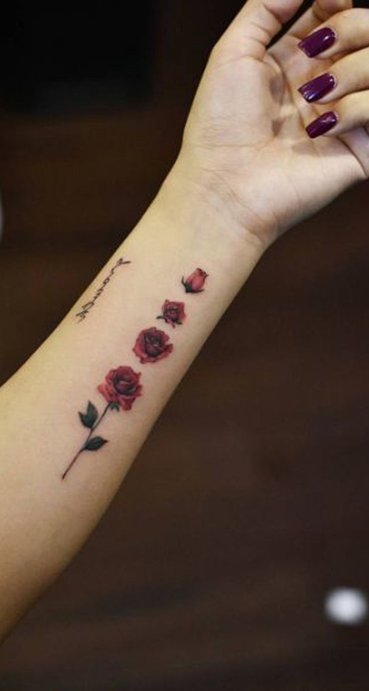 Unique Rose Arm Tattoo Ideas for Teenagers – Cool Floral Watercolor