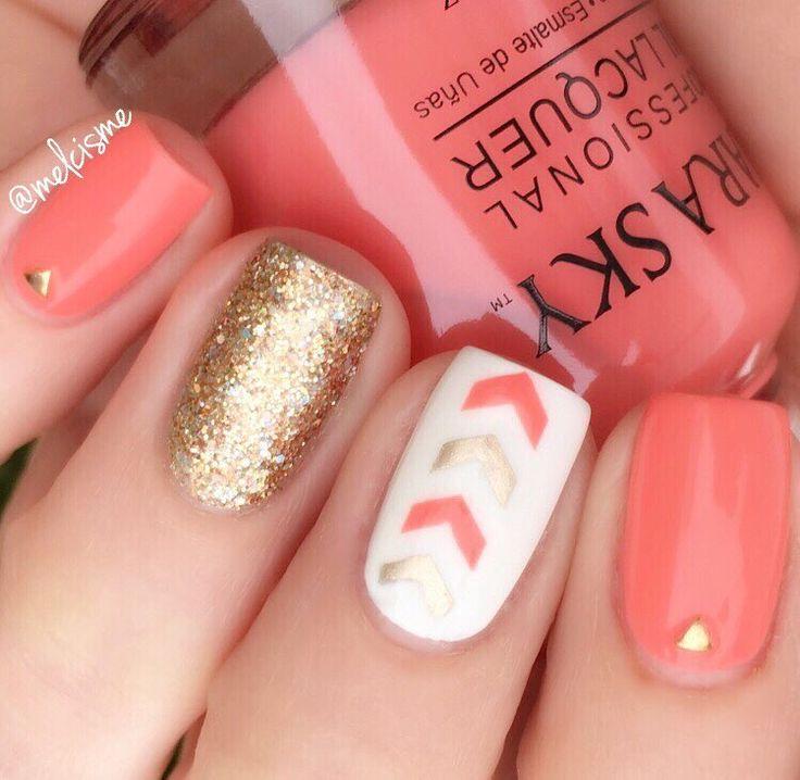 coral nails w/ chevron accent nail & gold details, gold glitter nail @melcisme   #skittlettes nailart #nail #manicure