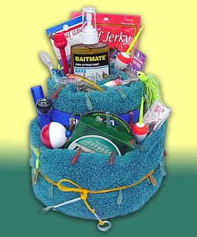 Father's Day Fisherman's Towel Cake - Gift Basket