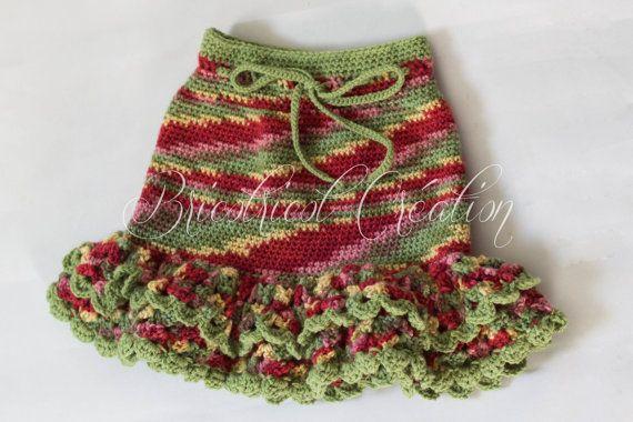 Jupe multicolore de style espagnole pour fillette (4-6 ans) fait au crochet. Prête à partir! #jupe #skirt #fillette #girl