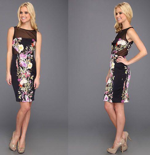 Rochie Badgley Mischka Silk Print Sheath Dress din magazinul Mycloset . Detalii si comenzi din acest link http://thankyou.ws/rochii-de-seara-scurte-cele-mai-frumoase-rochii-de-unde-cumperi