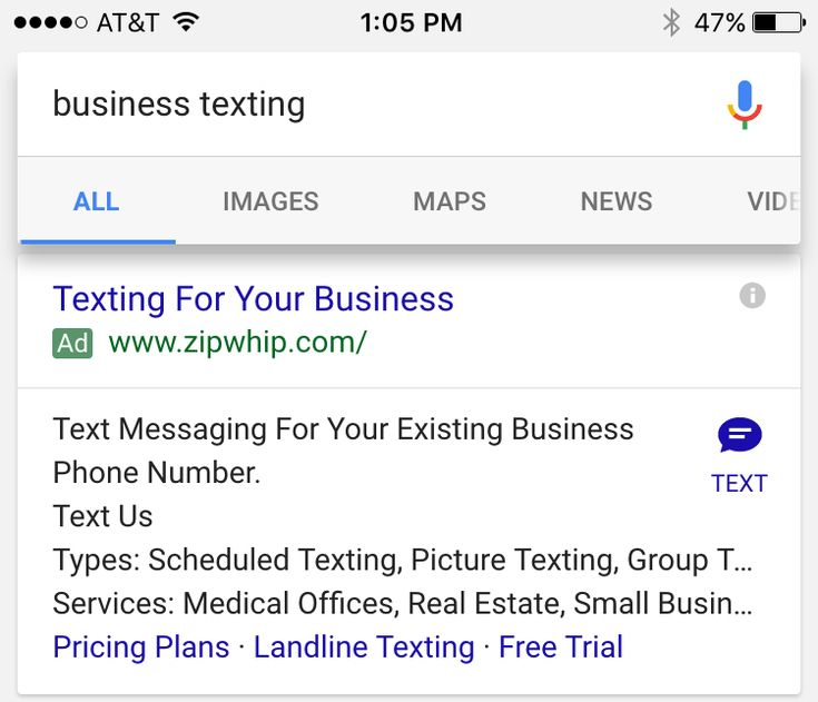 679 best google adwords images on pinterest online marketing is now testing a new ad extension similar to call ad buttons for sending sms or text messages to the advertiser here is a sample screen shot showing the fandeluxe Choice Image