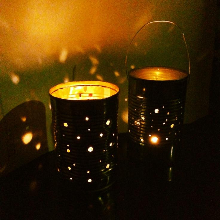 DIY Tin can recycle lanterns:) I made one more tonight. I love this more than any fancy candle holders. Love, Life, Reuse:)  空きカンランタン♪今夜またひとつ作りました。 どんなおしゃれなキャンドルホルダーより、私はこれが好き♡