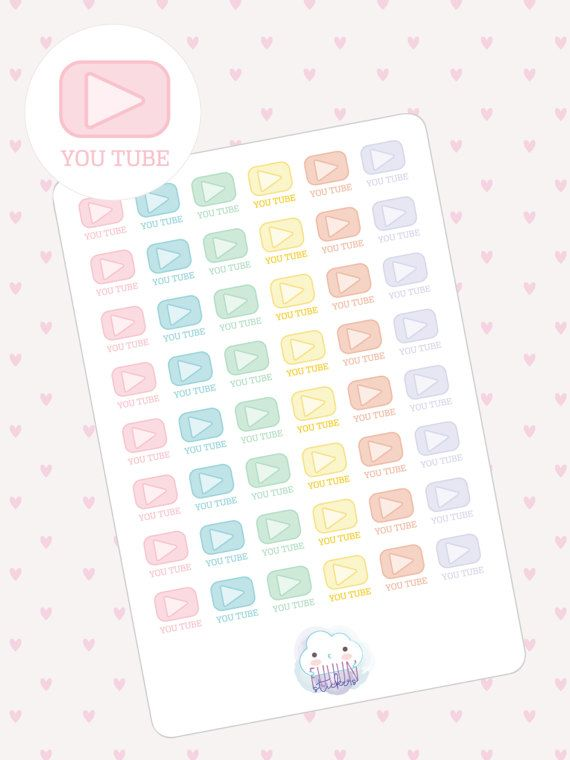 Colorful You Tube planner stickers  48 kiss cut kawaii by FuuunLab