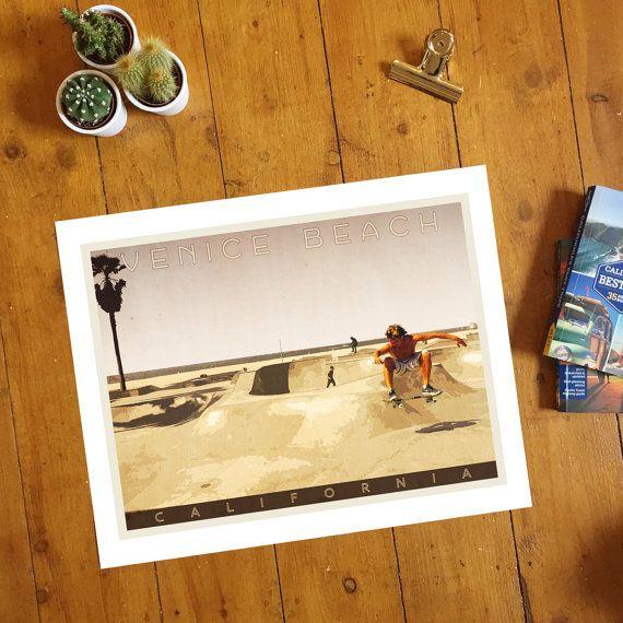 Venice Beach Skate Park, Los Angeles, California. Giclee travel art print