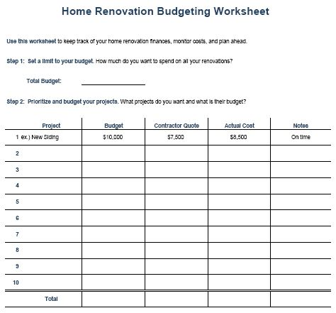 Kitchen remodel budget template home renovation budgeting worksheet toni pinterest for Bathroom remodel budget spreadsheet