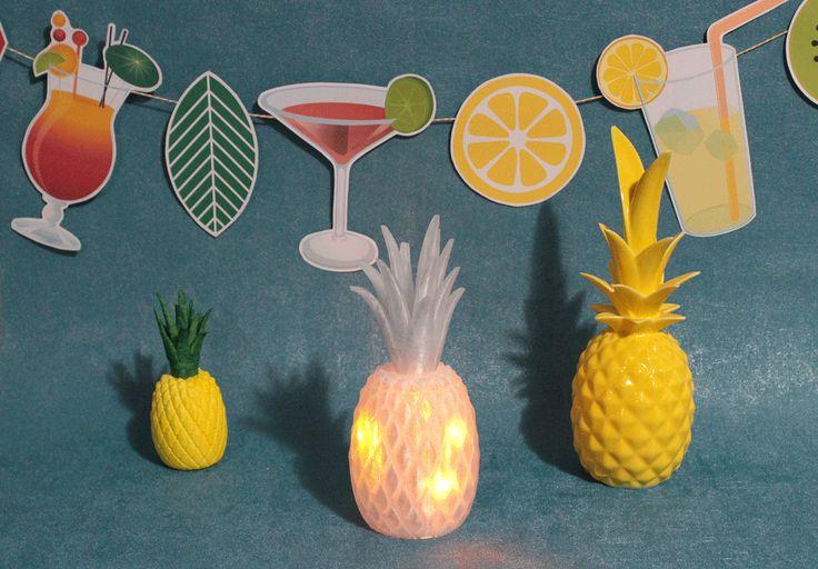 Lorsque la soirée bat son plein autour de la table du jardin, il y a souvent besoin d'une lumière d'appoint pour transformer l'ambiance. Pour rester dans le thème tropical, je vous proposer de customiser un modèle d'ananas imprimé en 3D qui fera de l'effet !  Pour le reste de la déco et du buffet de votre Tropic Chic Party, n'hésitez pas à découvrir les réalisations des Créatives à Coco avec le mot clé CocoCrea  #OuiAreCreativesacoco #ChallengeDesMakers #ChallengeOuiAreMakers